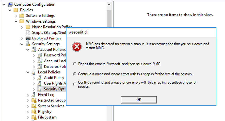 Group Policy Editor error