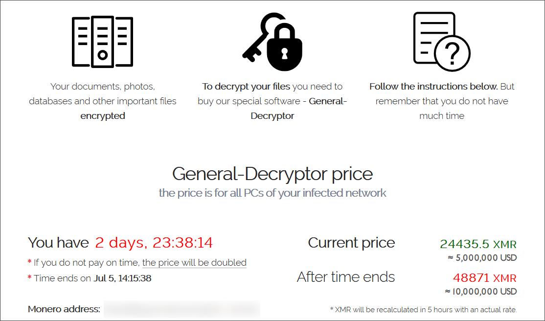 REvil ransom demand for an encrypted MSP