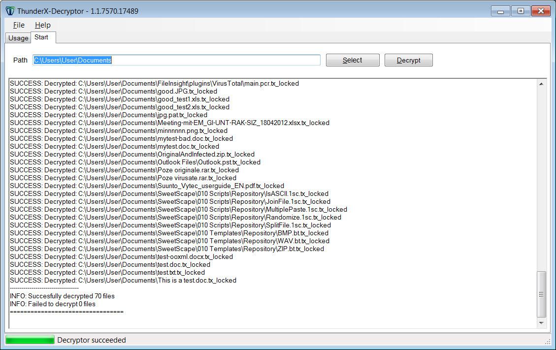 Files decrypted