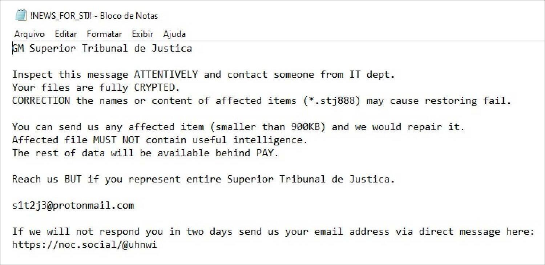 STJ ransom note